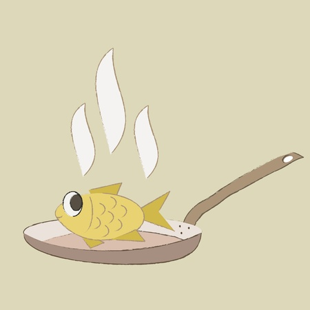 Fried fish vector Illustration