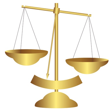 Golden balance scale vector Vector