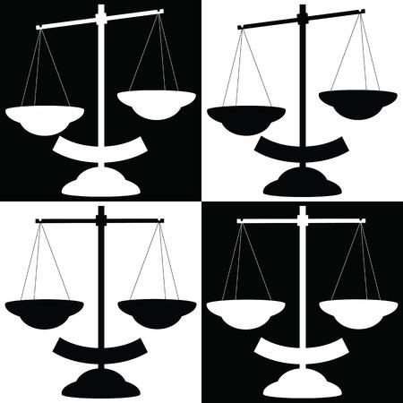ungleichgewicht: Varianten von Schwarz und Wei� Waagschale Illustration