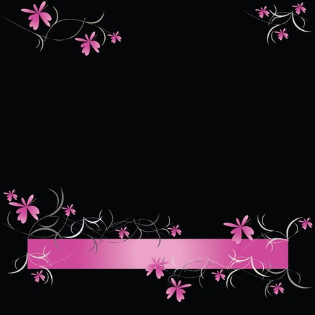 pink and black: Pink floral pattern on black