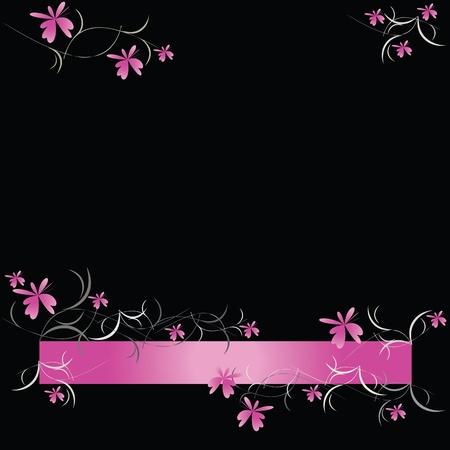 Pink floral pattern on black