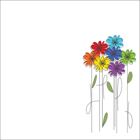 flower card: Bouquet of coloeful flowers