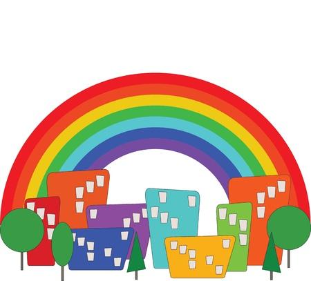 edifice: Cartoon colorful city and rainbow