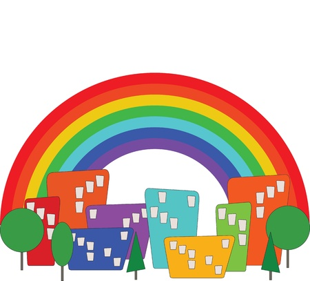 cartoon rainbow: Cartoon colorido de la ciudad y el arco iris