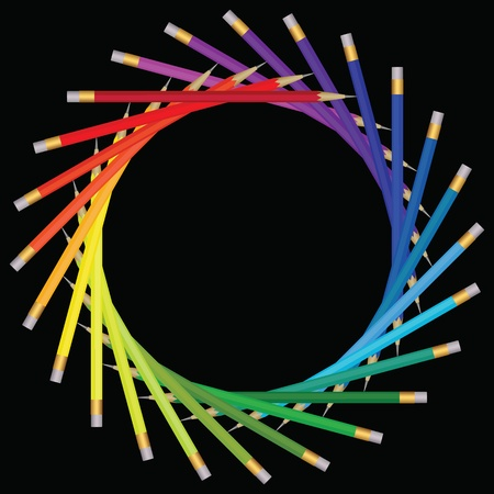 Frame of color pencils Vector