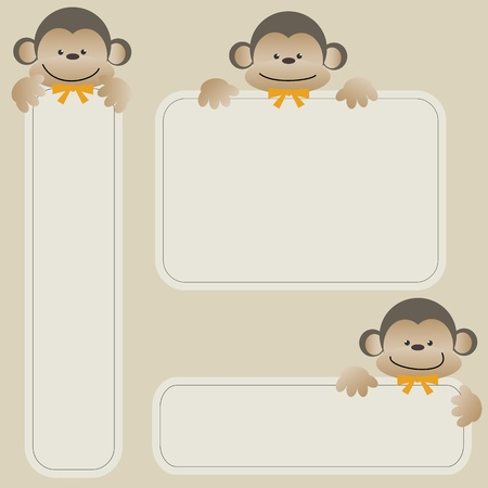 Monkey with banner Vector