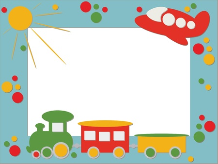 Children frame with train and plane Vector