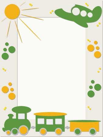 cartoon summer: Children frame with train and plane