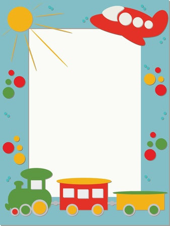 Children frame with train and plane Stock Vector - 12765668