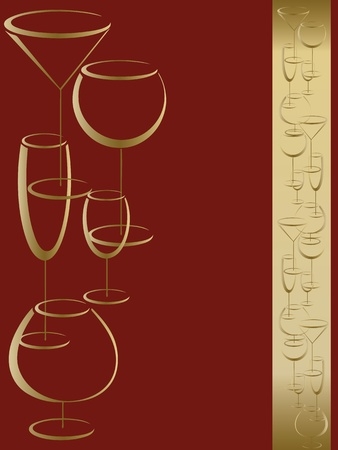 liquor: Red and gold bar card menu