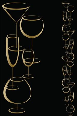 brandy glass: Bar wine card menu Illustration