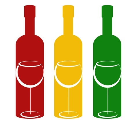dinner party: Color bottles and wineglasses Illustration