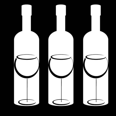 Black and white  bottles and wineglasses Vector