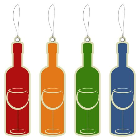 Price label tag wine bottle Vector