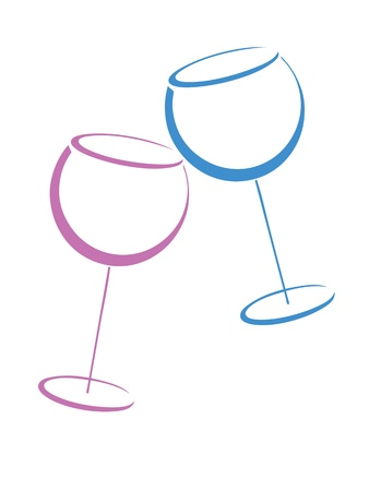 Two color wineglases on white Stock Vector - 12765682