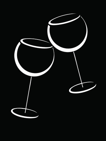 cognac: Two black and white glasses of wine Illustration
