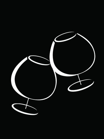 Black and white glasses of cognac Stock Vector - 12765688