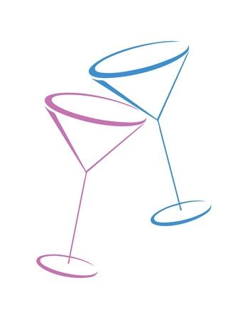 copa de martini: Dos vasos de martini de color sobre fondo blanco Vectores
