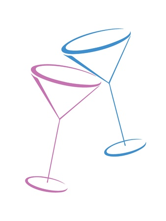 martini glass: Two color glasses of martini on white