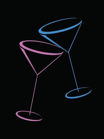 martini glass: Two color glasses of martini on black