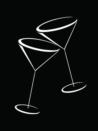 martini: Black and white glasses of martini Illustration