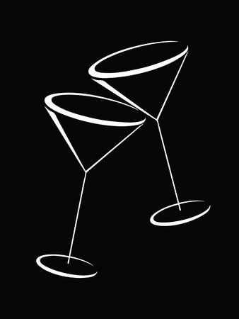 martini glass: Black and white glasses of martini Illustration
