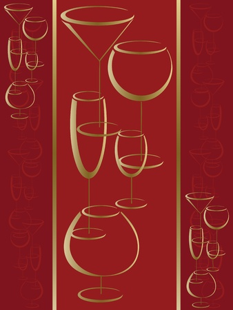 cognac: Red cover of wine card menu Illustration