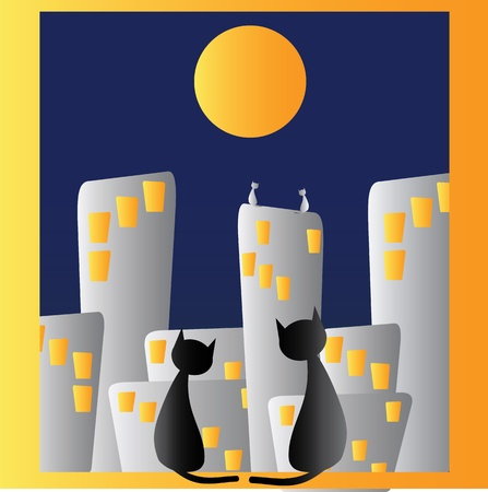 Two cats in window and night city Vector