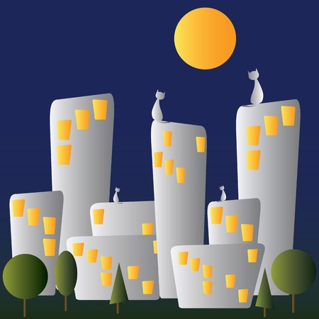 Night city, moon and cats Vector
