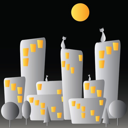 Night city and cats Vector