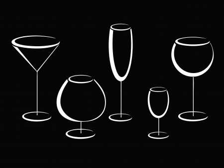 Black and white glasses of alcohol drinks  Vector