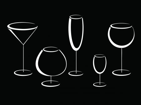 likeur: Zwart-wit glazen alcohol drinkt Stock Illustratie