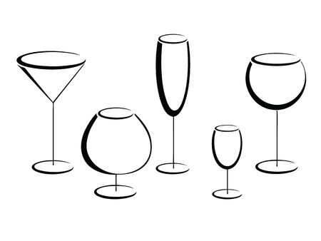 liqueur labels: Black glasses of alcohol drinks on white  Illustration