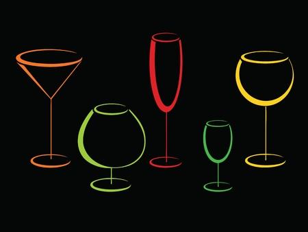 Colorful wineglasses on black