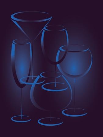 likeur: Blauwe achtergrond met glazen alcohol drinkt Stock Illustratie