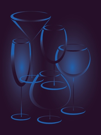 Blue background with glasses of alcohol drinks