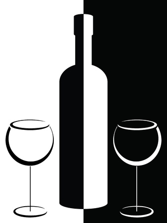 wine dinner: Black and white poster with bottle and wineglasses  Illustration