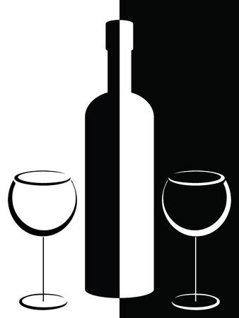 Schwarz-Weiß-Poster mit Flasche und Weingläser Standard-Bild - 13091517