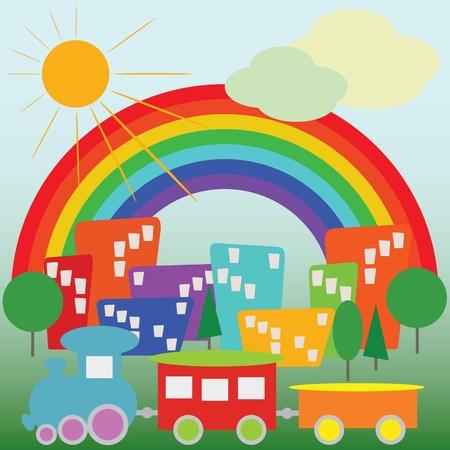 cartoon transportation: Colorful cartoon city and trains Illustration