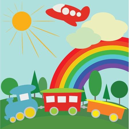 zug cartoon: Kinder Hintergrund mit Bahn, Flugzeug und Regenbogen