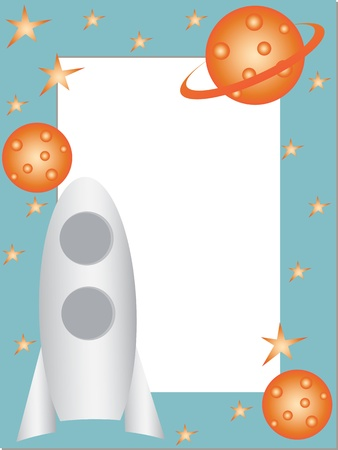 Children photo frame with rocket  Vector