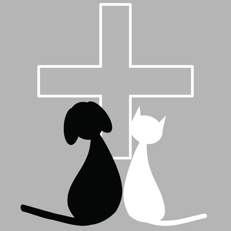 commercial medicine: Veterinary sign with dog and cat