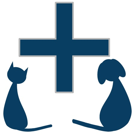 rescue dog: Veterinary sign with dog and cat