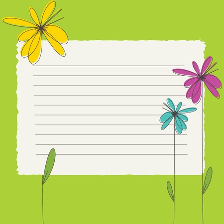 note paper background: Greeting card with color flowers and blank banner  Illustration
