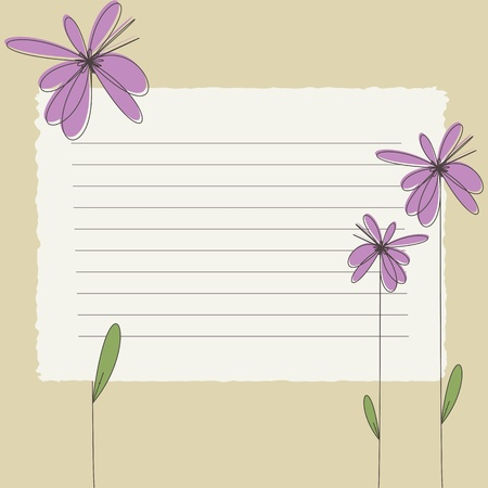 Greeting card with flowers and blank banner Vector