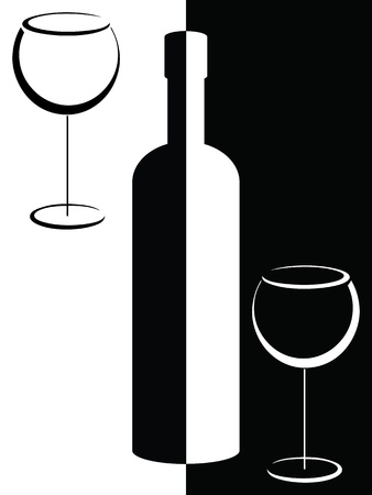 Black and white bottle and wine glasses Vector