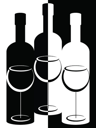 white wine bottle: Black and white bottles and wine glasses