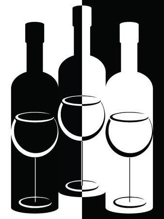 wijn en spijzen: Zwart-witte flessen en wijnglazen
