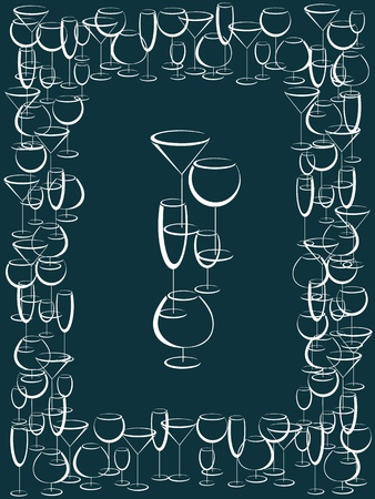 Frame of white wineglasses on blue background  Vector