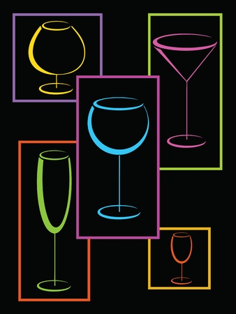 Colorful glasses of alcohol drinks in frames Vector